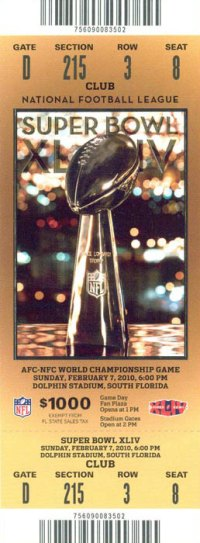 2010 Super Bowl XLIV Ticket