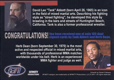 Tank Abbott and Herb Dean Autograph Cards from 5finity 2
