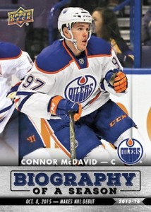 2015-16 Upper Deck Biography of a Season Hockey Connor McDavid NHL Debut