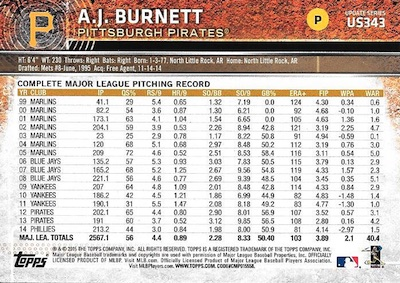 2015 Topps Update Series Sabermetric Stat Backs Variations Burnett