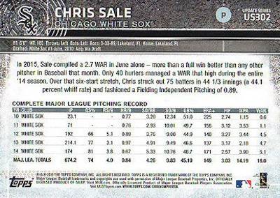 2015 Topps Update Series Sabermetric Stat Backs Variations Chris Sale