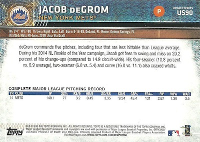 2015 Topps Update Series Sabermetric Stat Backs Variations DeGrom
