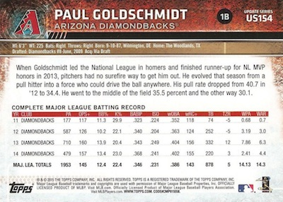2015 Topps Update Series Sabermetric Stat Backs Variations Goldschmidt
