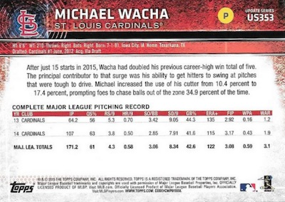 2015 Topps Update Series Sabermetric Stat Backs Variations Michael Wacha