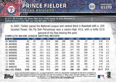 2015 Topps Update Series Sabermetric Stat Backs Variations Prince Fielder