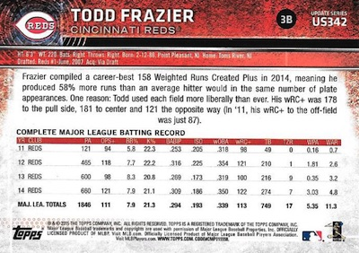2015 Topps Update Series Sabermetric Stat Backs Variations Todd Frazier