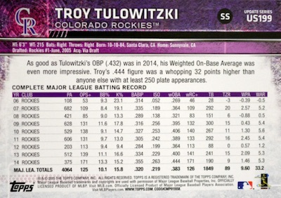 2015 Topps Update Series Sabermetric Stat Backs Variations Tulowitzki