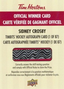 2015 Upper Deck Tim Hortons Collector's Series Hockey Sidney Crosby Timbits Autograph