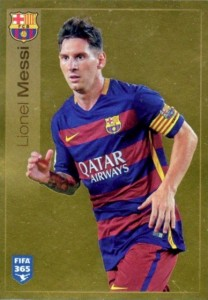 2016 Panini FIFA 365 The Golden World of Football Stickers Gold Foil Lionel Messi
