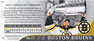 2011 Upper Deck Boston Bruins Stanley Cup Champions 4