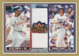 2002 Fleer Fall Classic Rival Factions Ozzie Smith Robin Yount Game Used Jersey