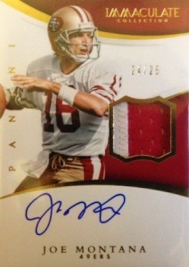 2015 Panini Immaculate Football Signature Patches Joe Montana