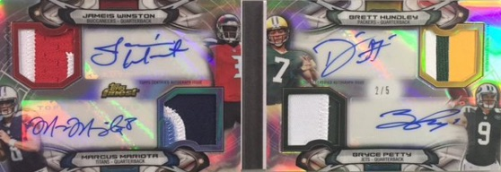 2015 Topps Finest Quarterback Quartet Autograph Patch Book
