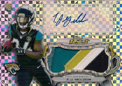 2015 Topps Finest Refractor Jumbo Autograph Relic Yeldon X-Fractor Patch