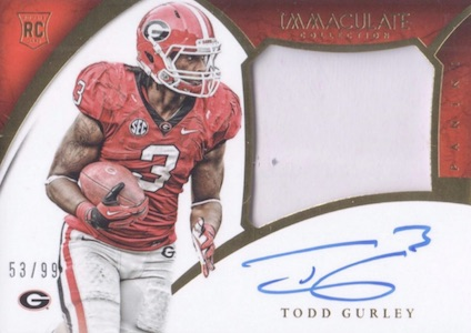 2015 Immaculate Collegiate Rookie Patches Autographs Gurley