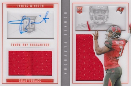 2015 Panini Playbook Jameis Winston RC #62 Autographed Jersey Booklet