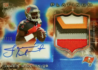2015 Topps Platinum Football Autographed Rookie Refractor Patches Blue Sapphire Winston