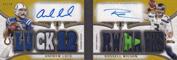 2015 Topps Triple Threads Football Autographed Relics Pair Book Gold Luck Wilson