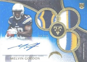 2015 Topps Triple Threads Football Rookie Autographed Triple Relics Sapphire Blue Patch Melvin Gordon