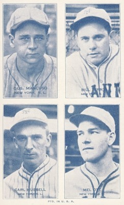 1934 Exhibit 4 On 1 Carl Hubbell, Mel Ott, Bill Terry, Hughie Critz