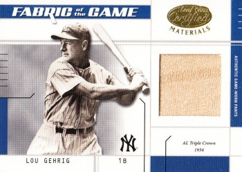 2003 Leaf Certified Materials Fabric of the Game Lou Gehrig Jersey Relic