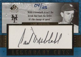 2003 Upper Deck Legendary Cuts Carl Hubbell Autograph