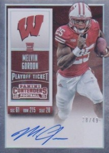 2015 Contenders Football RPS Rookie Ticket Autograph College Variation Melvin Gordon