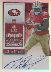 2015 Contenders Football RPS Rookie Ticket Autograph Variation Mike Davis
