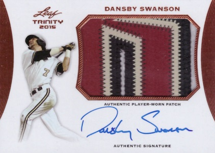 2015 Leaf Trinity Baseball Autograph Patch Dansby Swanson