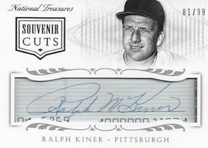 2015 National Treasures Baseball Souvenir Cuts Kiner