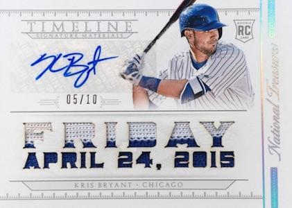 2015 National Treasures Baseball Timeline Signature Materials Kris Bryant