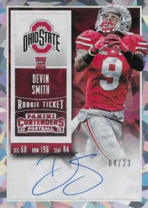 2015 Panini Contenders Football Rookie Ticket RPS Autograph College Variation Devin Smith