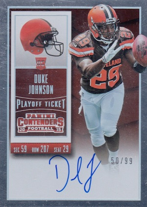 2015 Panini Contenders Football Rookie Ticket RPS Autograph Duke Johnson