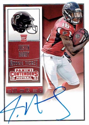 2015 Panini Contenders Football Rookie Ticket RPS Autograph Justin Hardy
