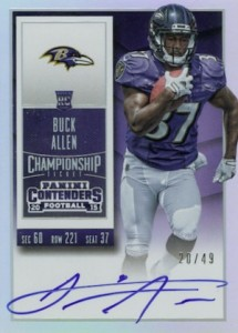 2015 Panini Contenders Football Rookie Ticket RPS Autograph Variation Buck Allen