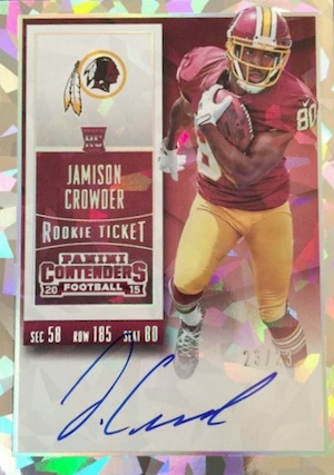 2015 Panini Contenders Football Rookie Ticket RPS Autograph Variation Crowder