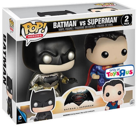2016 Funko Pop Batman vs Superman Figures 2 pack Metallic
