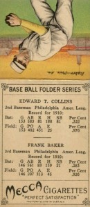 1911 T201 Mecca Double Folders Eddie Collins, Frank Baker Back