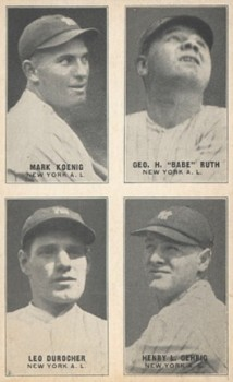 1931 Exhibits Four-On-One Mark Koenig, Babe Ruth, Leo Durocher, Lou Gehrig