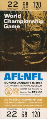1967 Super Bowl I Ticket