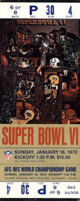 1972 Super Bowl VI Ticket