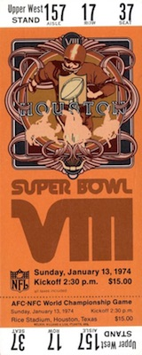 1974 Super Bowl VIII Ticket