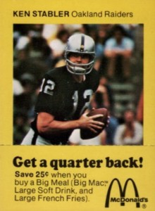 1975 McDonald's Quarterbacks Ken Stabler