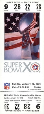 1976 Super Bowl X Ticket