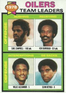 1979 Topps Earl Campbell, Willie Anderson, Ken Burrough, Elvin Bethea #301