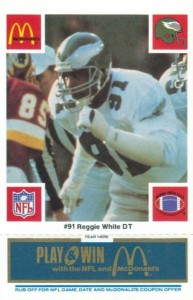 1986 McDonald's Eagles Reggie White #91