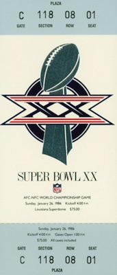 1986 Super Bowl XX Ticket