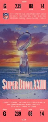 1989 Super Bowl XXIII Ticket