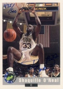 1992 Classic Draft Picks Autographs Shaquille O'Neal Rookie Card 500