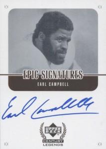 1999 Upper Deck Century Legends Earl Campbell Autograph